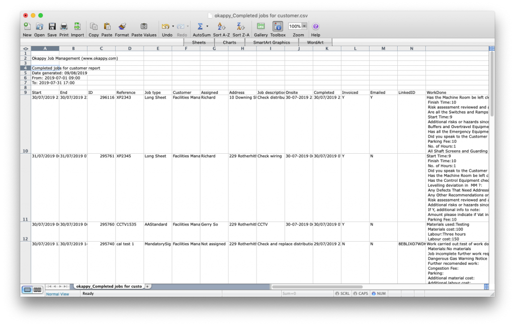 Export Your Jobs For Customer Report to Microsoft Excel