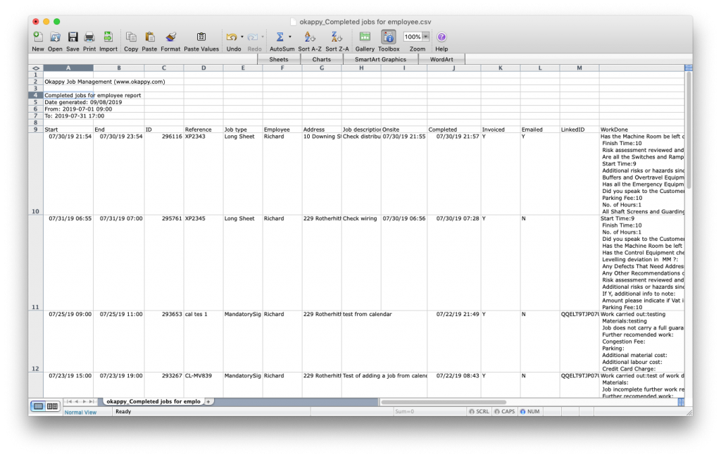 ExportJobs For Employee Report to Excel