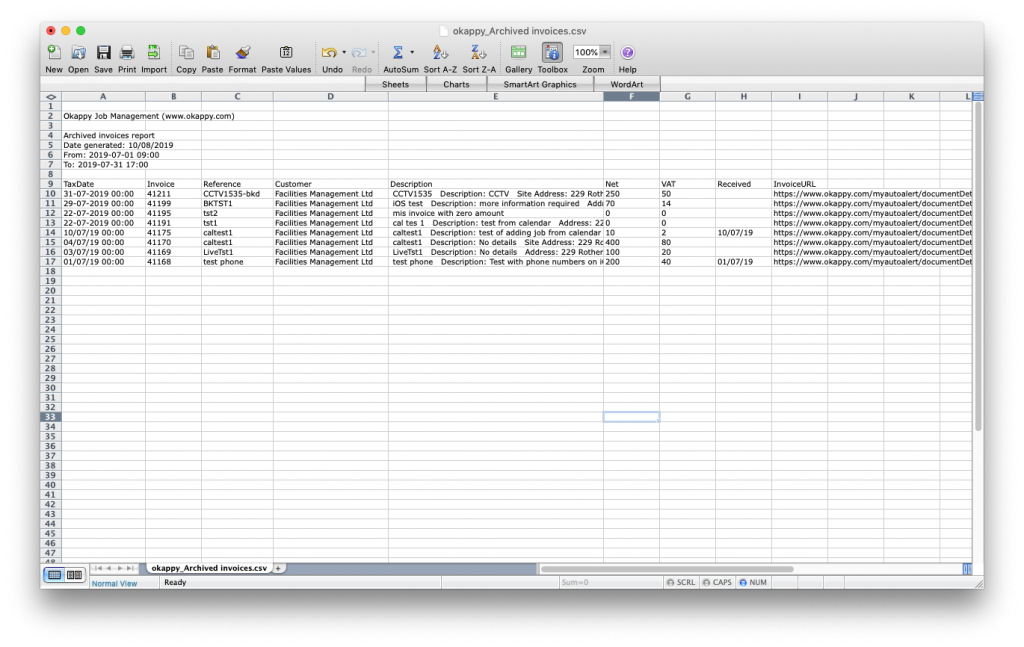 Export archived invoices to Excel