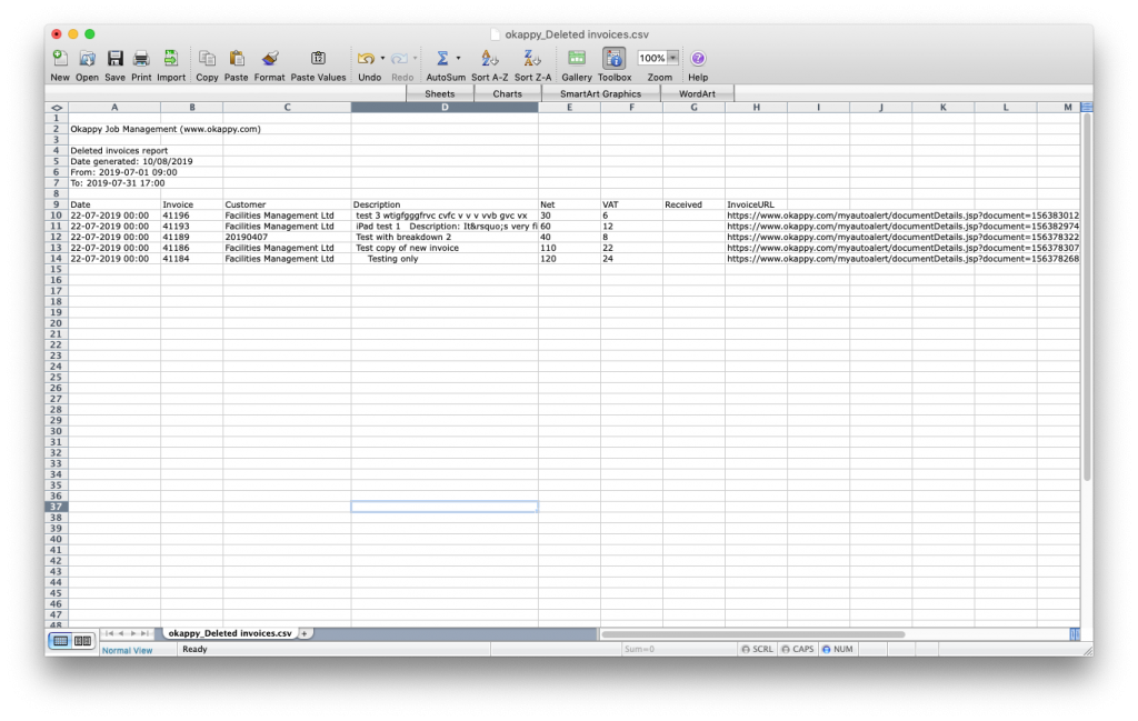 Export deleted invoices to Excel