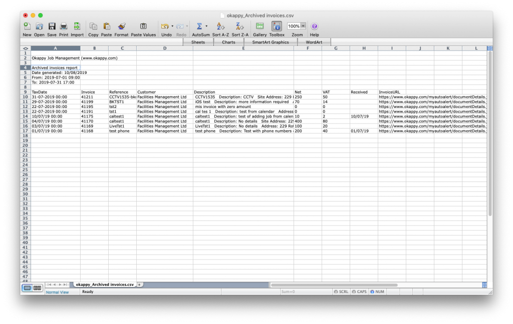 Export exported invoices to Excel
