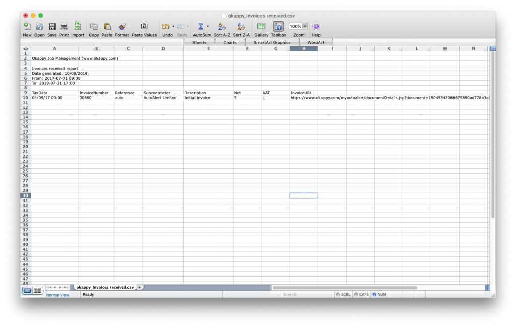 Export invoices received to Excel