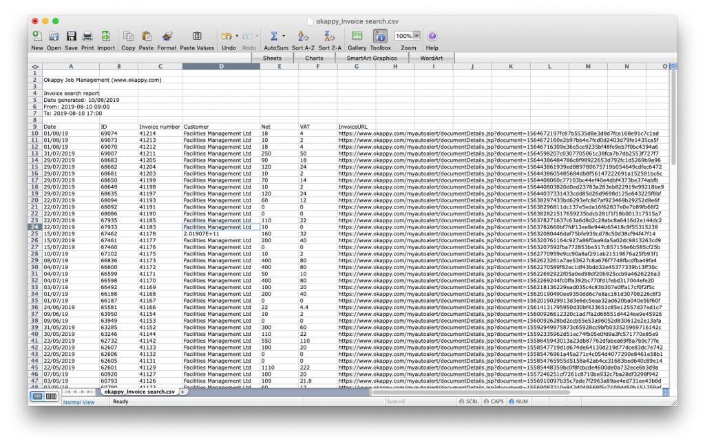 Export search invoices report to Excel