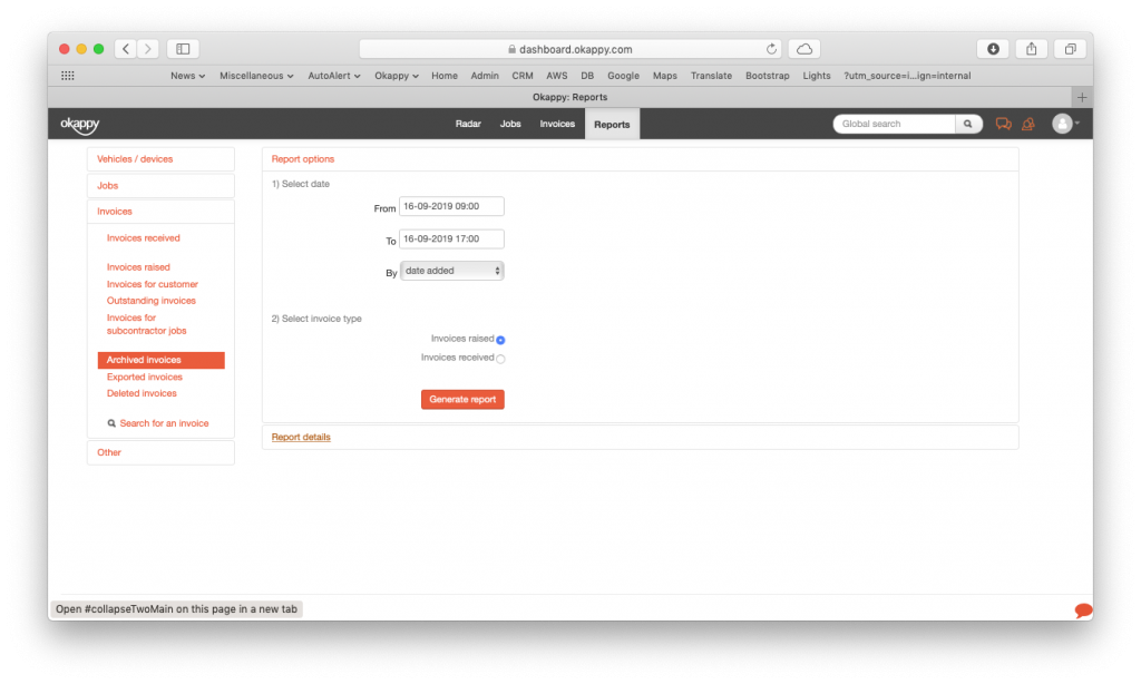 Generate invoices archived report v2