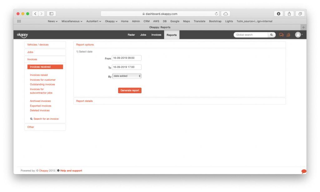 Generate invoices received report v2