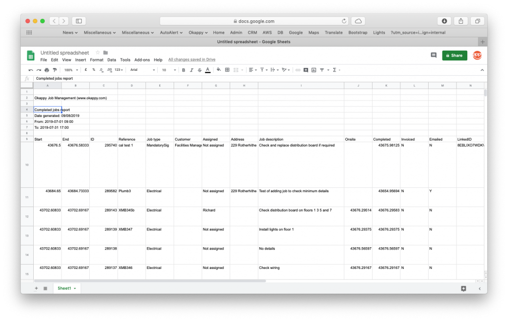 Export Completed Jobs Report to Google Sheets