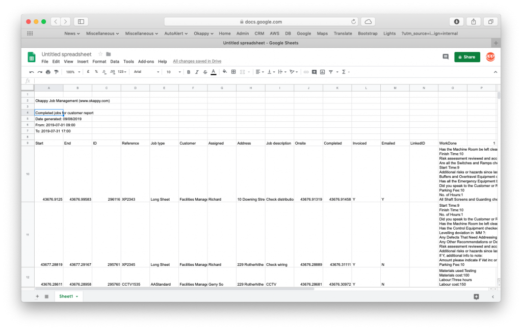 Export Your Jobs For Customer Report to Google Sheets