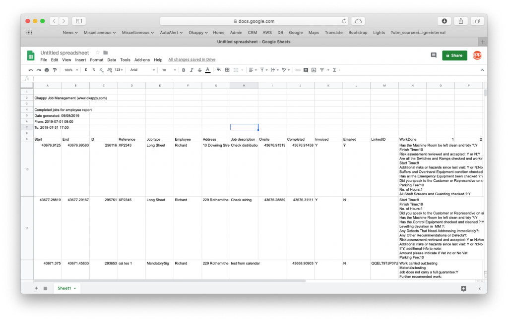 ExportJobs For Employee Report to Google Sheets