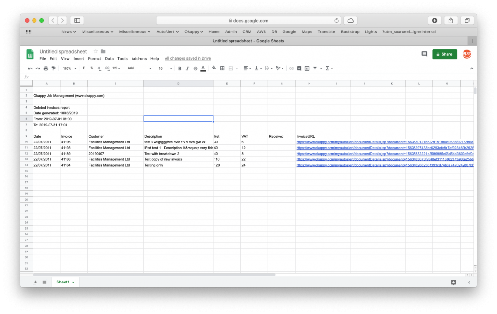 Export deleted invoices to Google Sheets