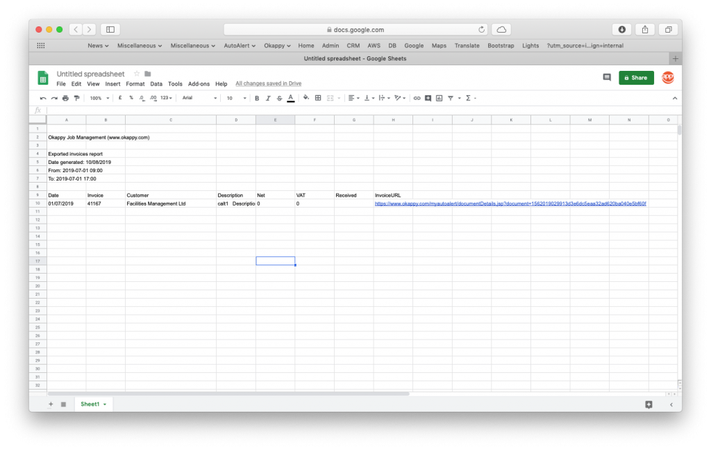 Export exported invoices to Google Sheets