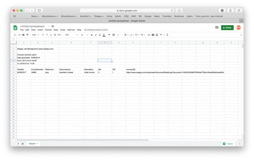 Export invoices received to Google Sheets