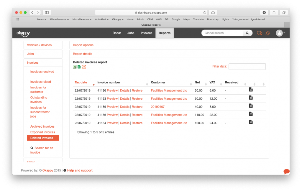 Reports generate deleted invoices