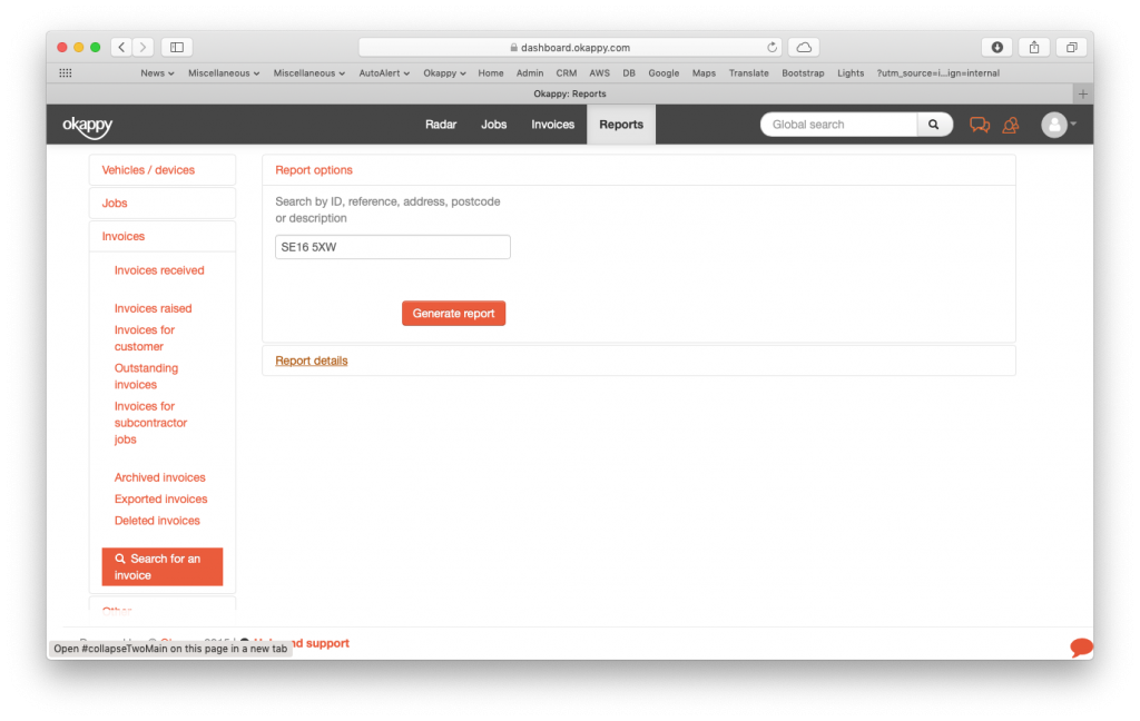 Reports generate search invoices