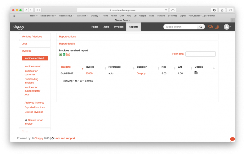 Reports view invoices received