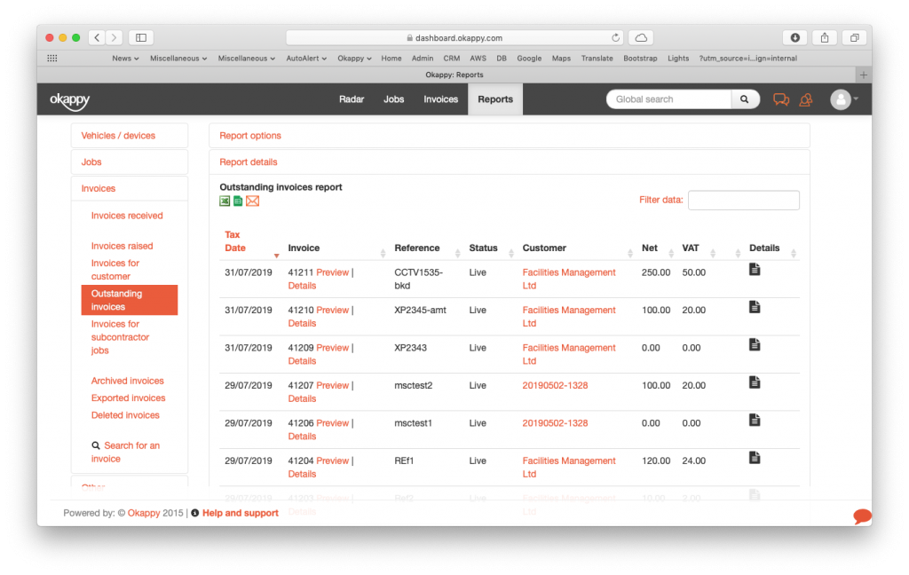Reports view outstanding invoices