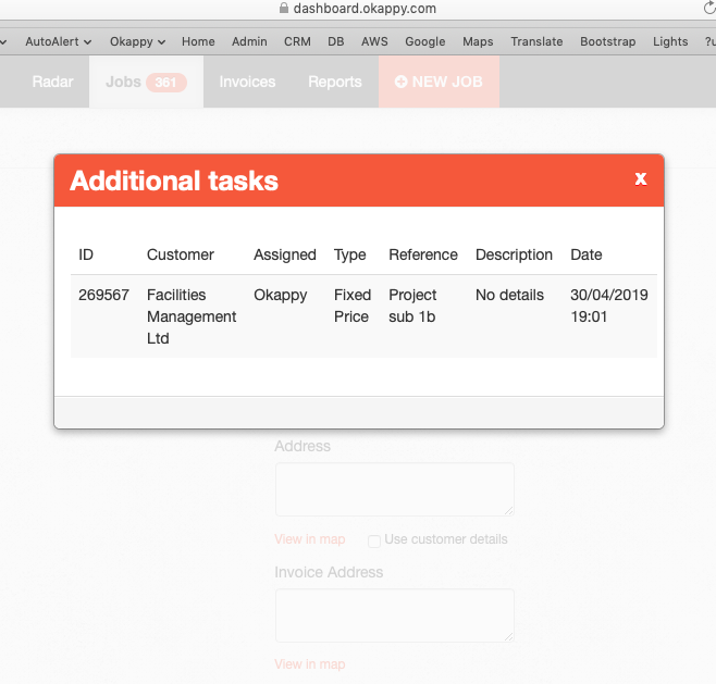 Viewing additional tasks in a project