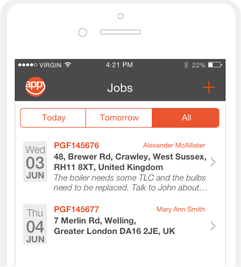 iPhone app - Jobs dashboard