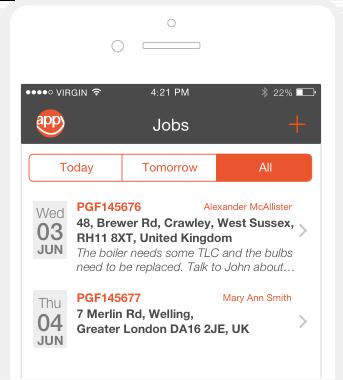 iPhone app - Jobs dashboard