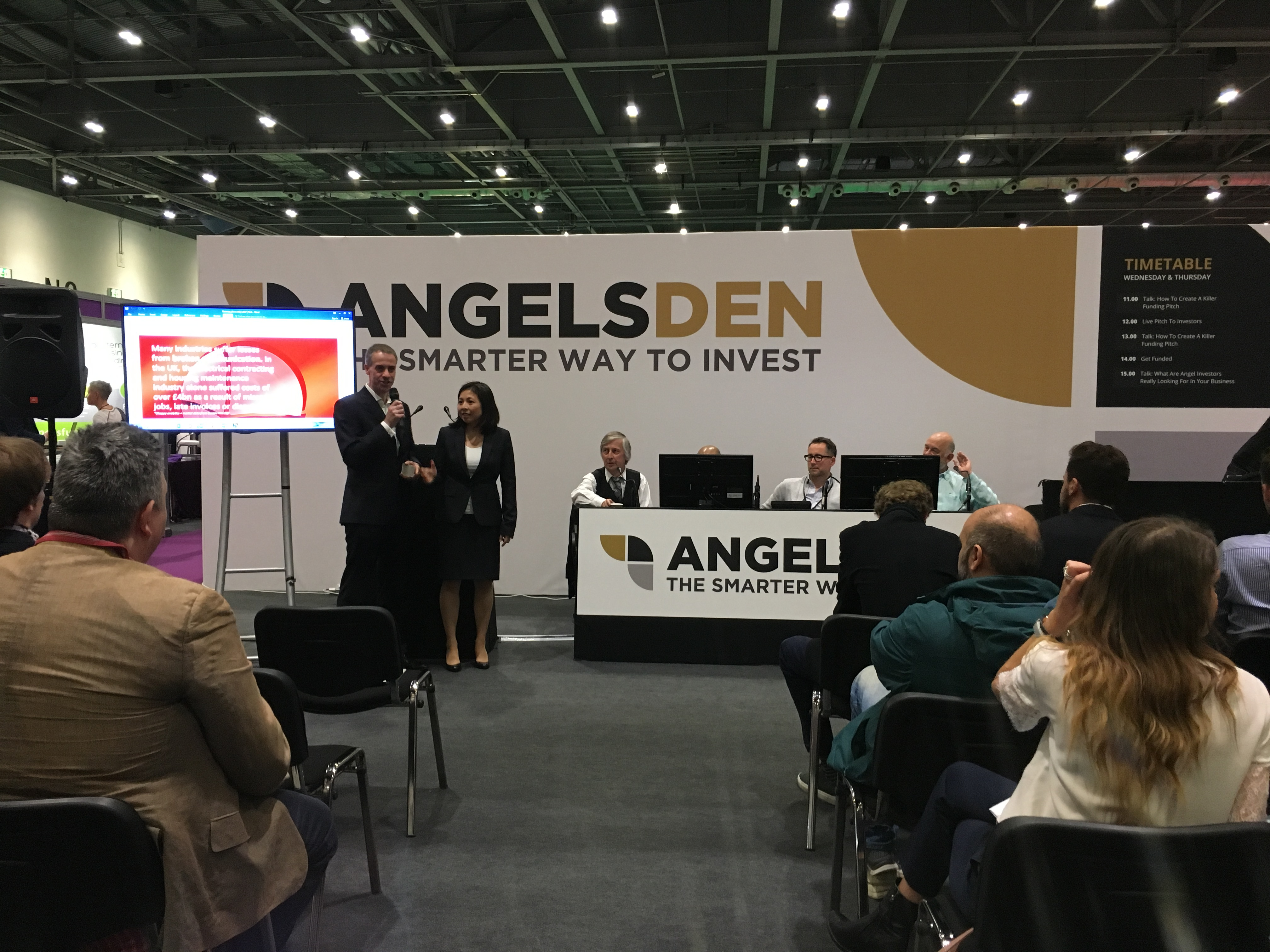 Richard and Gerry pitching at the Business Show 2017