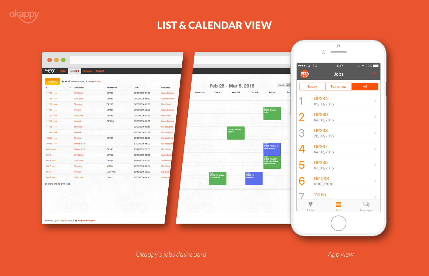 Job dashboard desktop, calendar and mobile view