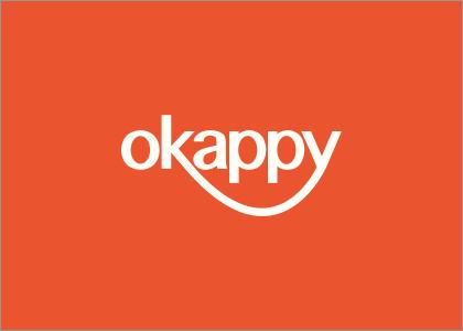 Okappy logo on orange background