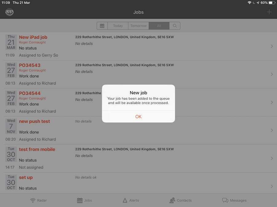 iPad - AddJob - Job added