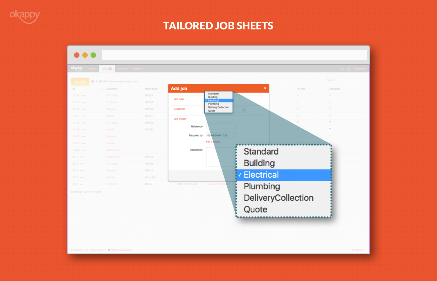 desktop view of tailored job sheets