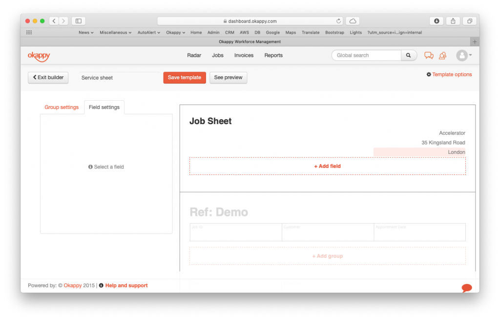 job template headers more fields