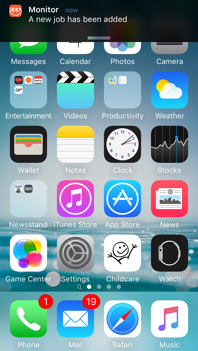 Monitor screenshot showing the push notifcation