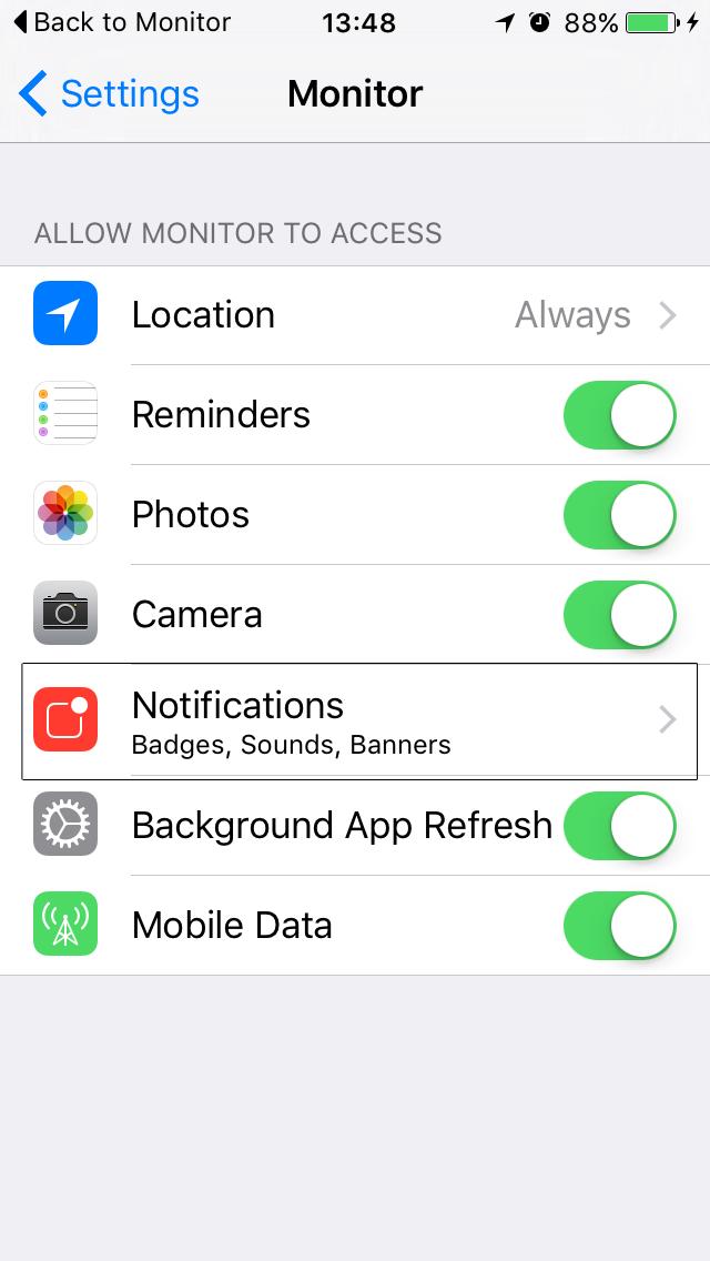 Monitor screenshot showing the notifications setting