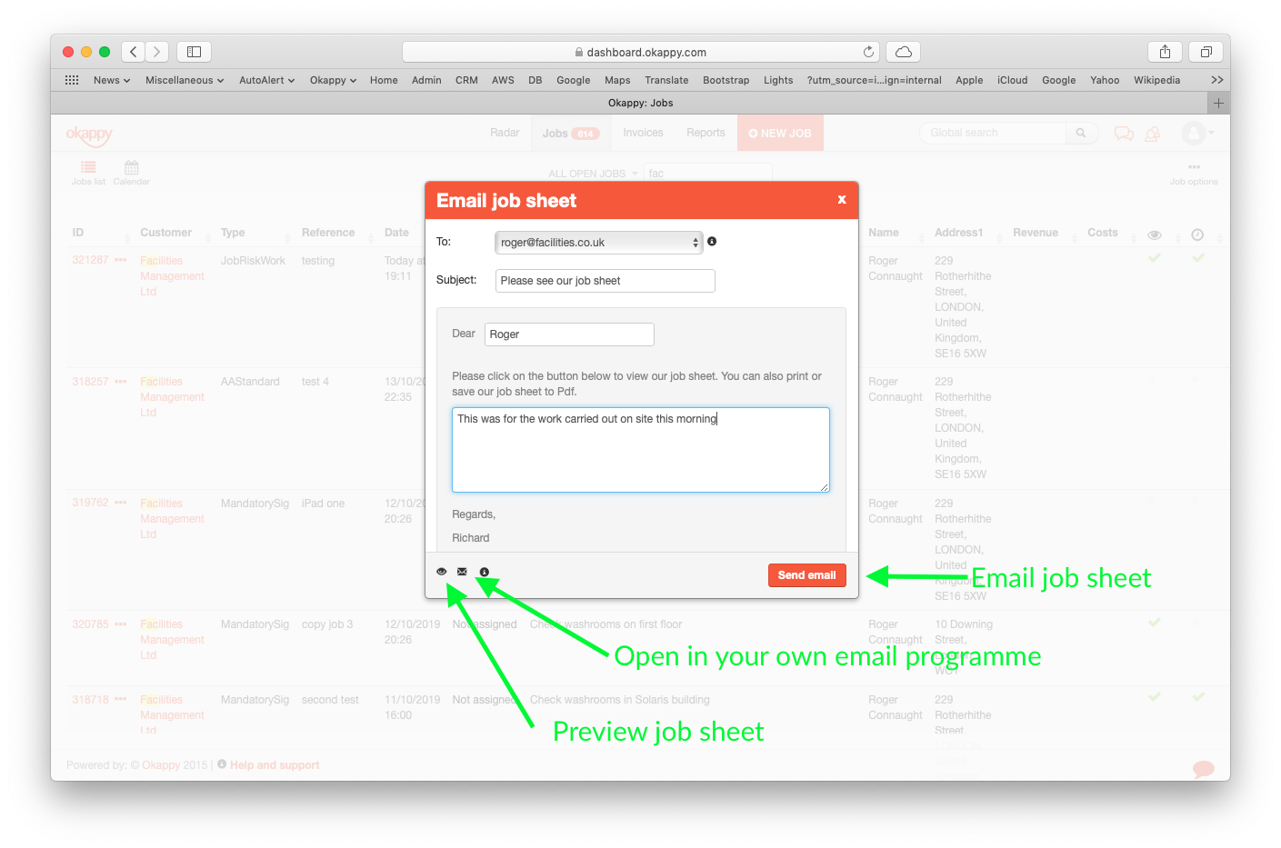 Emailing job sheets with Okappy