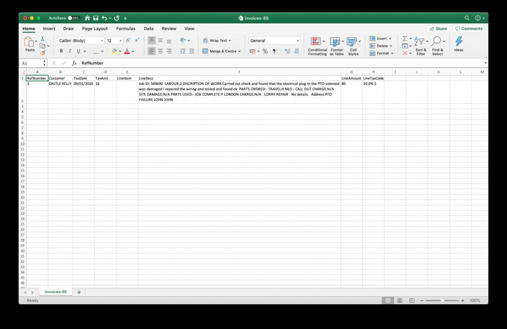 Quickbooks export file