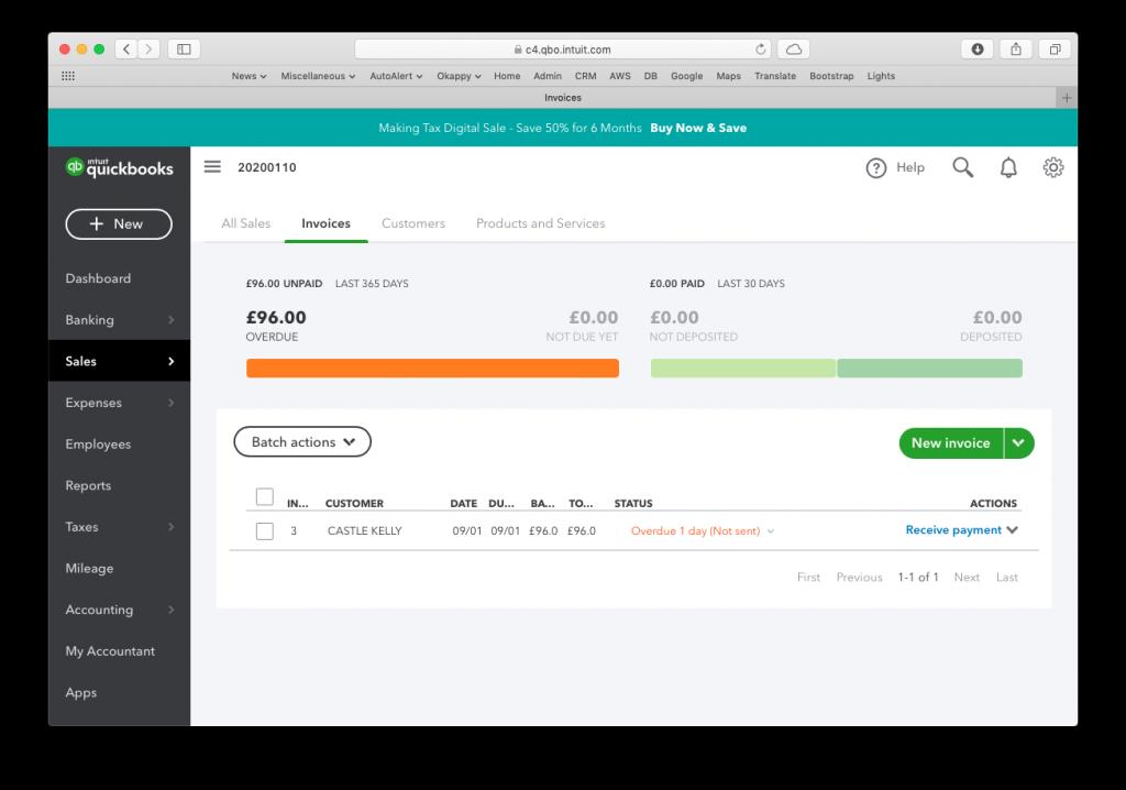 Quickbooks invoice screen