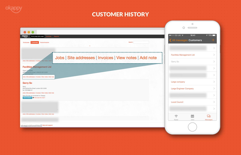 customer database notes job history okappy view your customer history