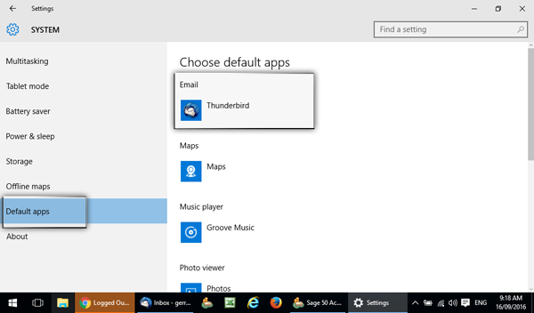 Windows 10 choose default apps